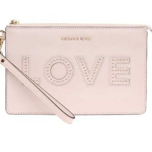 Michael Kors Soft pink leather love wrist bag
